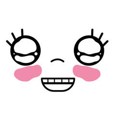 Kawaii cute happy face expression vector