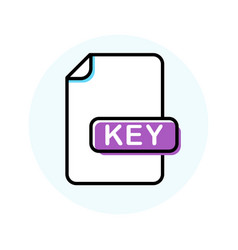 key file format extension color line icon vector image
