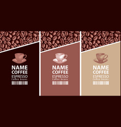 Labels with coffee cups barcodes and coffee beans vector