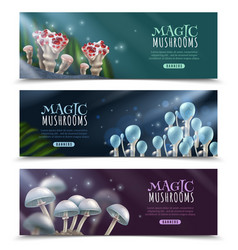 Magic mushrooms horizontal banners set vector