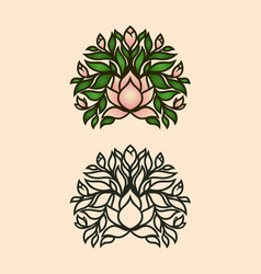 magnolia bush icon with flowers and buds vector image