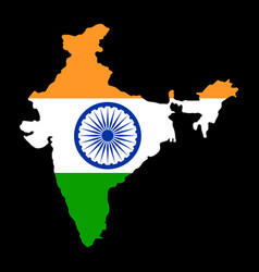 Map india with flag india with flag vector