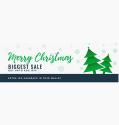 Merry christmas sale banner design background vector