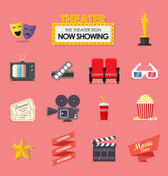 Movie and film icons set vector