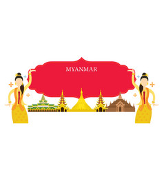 Myanmar landmarks traditional dance frame vector