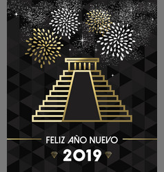 new year 2019 mexico chichen itza travel gold vector image