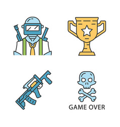 Online game inventory color icons set esports vector