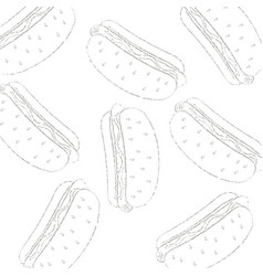 pattern of a hot dog drawn in chalk vector image