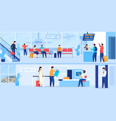 people waiting in airport security check and vector image