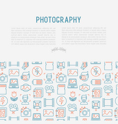 Photography concept with thin line icons vector