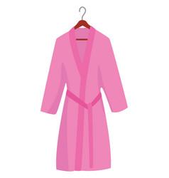 Pink bath robe on white background vector