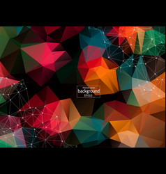 polygonal background with connecting dots and vector image