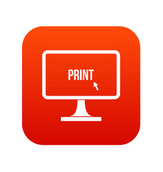 Print word on a computer monitor icon digital red vector
