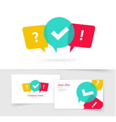 Quiz logo business card questionnaire icon vector