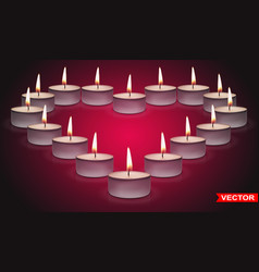 realistic valentines day heart shaped candles vector image