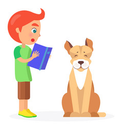 red-haired boy reads book to jack russell terrier vector image