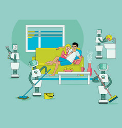 robots doing housework happy people relax vector image