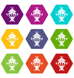 russian tea samovar icon set color hexahedron vector image