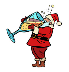santa claus drinks champagne christmas and new vector image