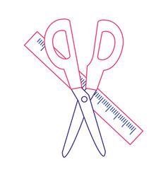 Scissor and ruler design vector