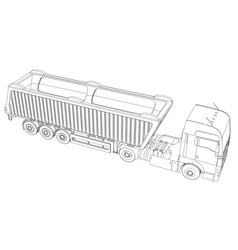 semi-trailer dump truck sketch isolated on white vector image