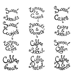 Set 3 of curly lettering phrases for coffee shop vector