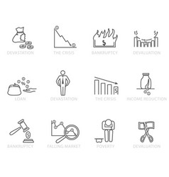 Set black and white bankruptcy icons vector