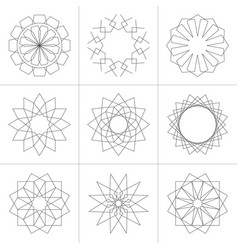 set geometric shapes in line style vector image