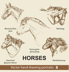 Set hand drawing horses 8 vector