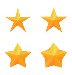 set of four golden five point stars vector image