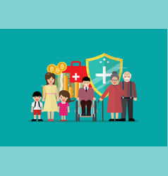 social welfare for children woman senior and vector image