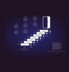 Steps up ladders and doorway concept or vector