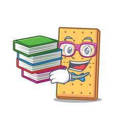 Student with book graham cookies mascot cartoon vector