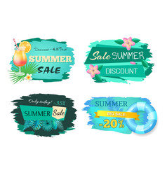 summer sale advertisement label cocktail and fruit vector image