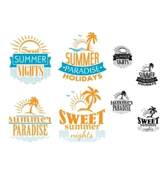 Summer travel and vacation badges vector