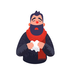 the man has a cold flu ill sick concept vector image