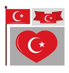 Turkey flags set vector
