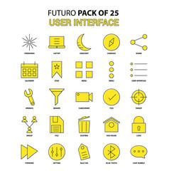 User interface icon set yellow futuro latest vector