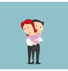 Woman and man hugging with happy smiles vector image