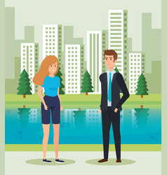 Woman and man talking near to river and buildings vector