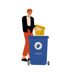 young man throwing paper waste into garbage vector image