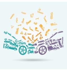 Car crash icons concept vector image vector image