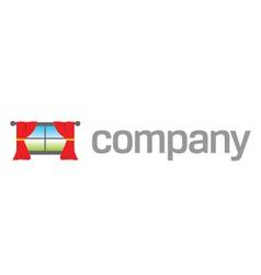 home window drapes logo vector image vector image