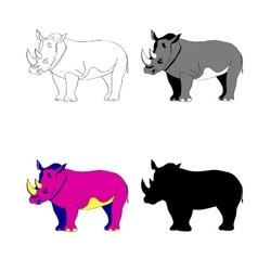Image rhino line silhouette vector