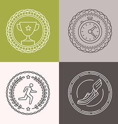 linear runnig badges vector image vector image