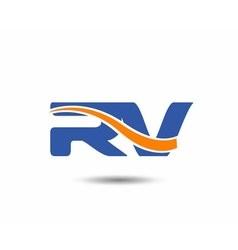 Rv company linked letter logo vector