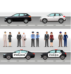 Set of two civil vehicles two police cars male vector