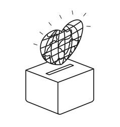 Silhouette flat globe earth world in heart shape vector
