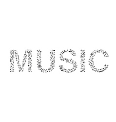 Word music made of music signs vector image vector image