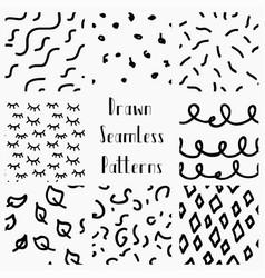 Abstract hand drawn black seamless patterns vector